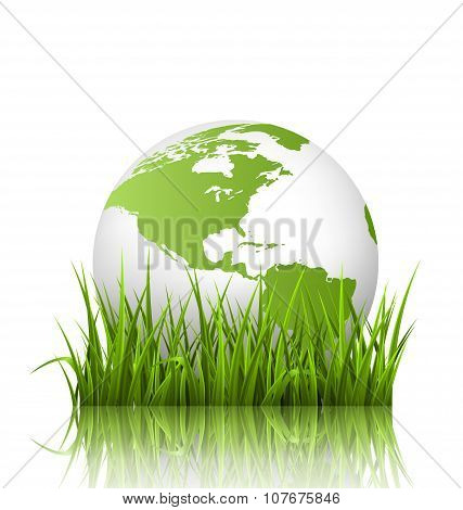Green Planet Icon With Globe And Grass On White