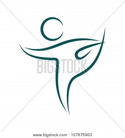 Emblem Yoga Pose Isolated On White