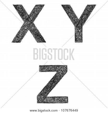 Line art font set - letters X, Y, Z
