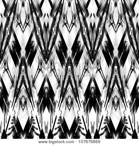 art monochrome ornamental ethnic styled horizontal seamless pattern with symmetrical zigzag; blurred watercolor background in black and white colors. Pat 6
