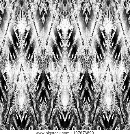 art monochrome ornamental ethnic styled horizontal seamless pattern with symmetrical zigzag; blurred watercolor background in black and white colors. Pat 17