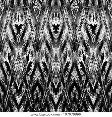 art monochrome ornamental ethnic styled horizontal seamless pattern with symmetrical zigzag; blurred watercolor background in black and white colors. Pat 18