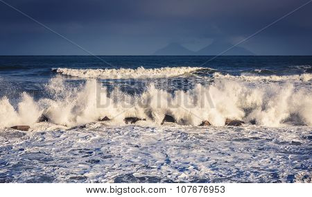 Fantastic sea view with dark sky and strong storm waves. Dramatic and picturesque scene. Location Gioiosa Marea. Lipari island, Sicilia, Italy, Europe. Mediterranean and Tyrrhenian sea. Beauty world.