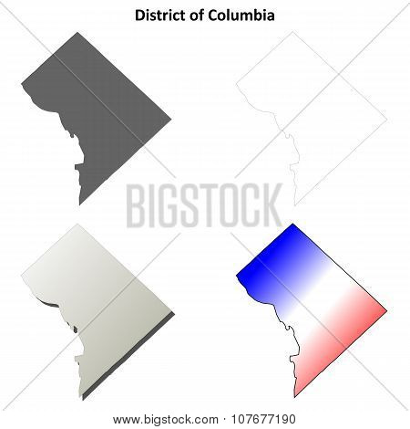 District of Columbia outline map set