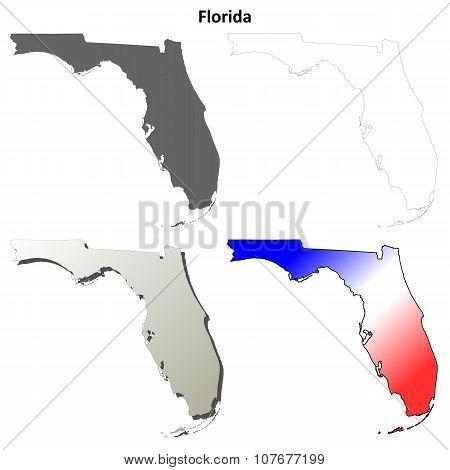 Florida outline map set