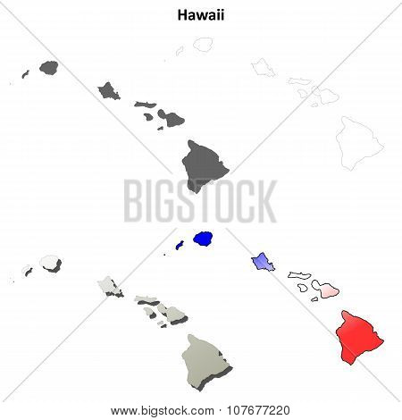 Hawaii outline map set