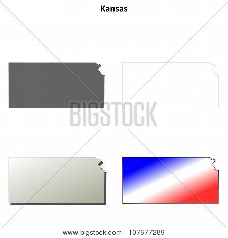 Kansas outline map set