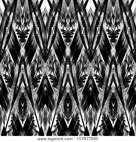 art monochrome ornamental ethnic styled horizontal seamless pattern with symmetrical zigzag; blurred watercolor background in black and white colors. Pat 9