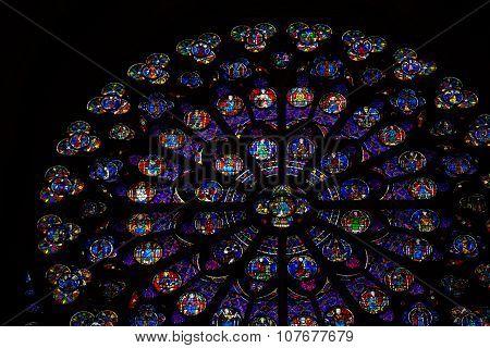 PARIS, FRANCE - SEPTEMBER 9, 2014: Paris Notre Dame Cathedral. South transept rose window. UNESCO World Heritage Site. Paris France