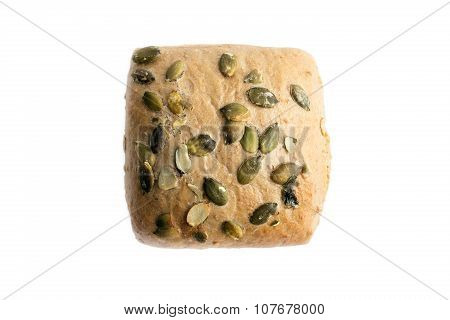Brown Wholegrain Bread Rolls With Pumpkin Seeds Isolated On White