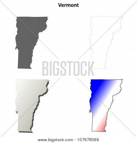 Vermont outline map set