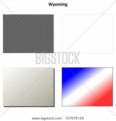 Wyoming outline map set