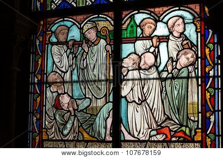 PARIS, FRANCE - SEPTEMBER 9, 2014: Stained glass windows inside the treasury of Notre Dame Cathedral UNESCO World Heritage Site. Paris France