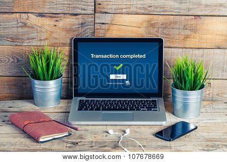 On Line Banking On Computer. Transaction Completed Text In The Screen.