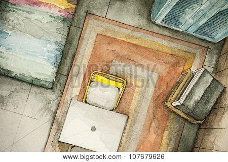 Partial living room floor plan