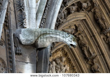 Paris - The gargoyles on the north side wall of the Notre Dame Cathedral