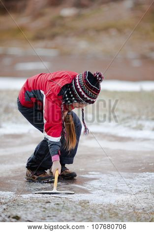 Cleaning  The Ice From Snow On Rink