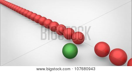 Many Identical 3D Red Spheres And Only One Green Sphere Different White Background