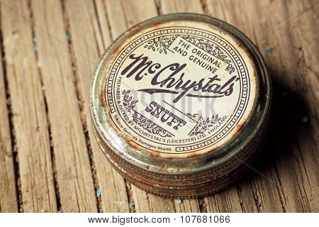 Vintage can of smokeless tobacco product, McChrystals snuff, made in England