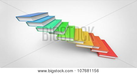 Rainbow Raw 3D Colorful Stairs Made Of Books