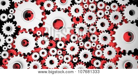 Silver And Red Mechanical 3D Manufacturing, Metal Gears Cog Cogs On Black Background