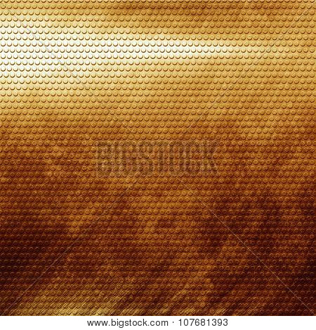Old damaged golden metal grid background