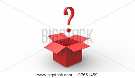 3D Red Exlamation Question Mark Red Open Box