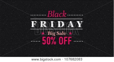 Black Friday Sale Inscription Design Template. Vector Illustration.