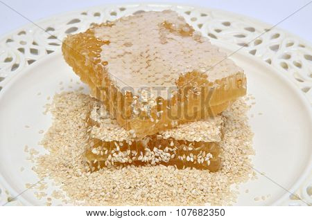 Honeycomb And Sesame Seeds