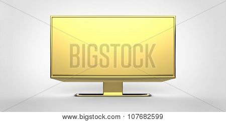 Gold 3D Tv Lcd On White Background