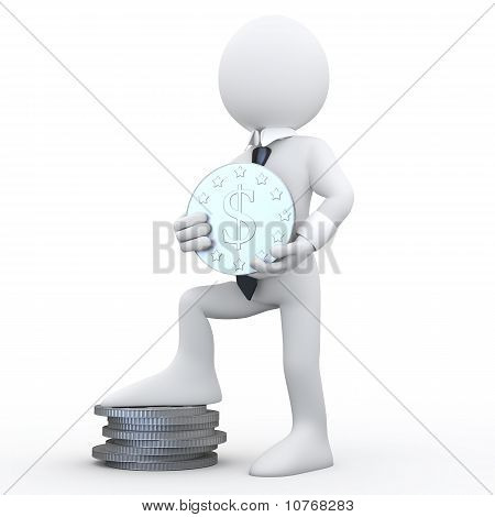 3D man holding a coin with the symbol of the dollar and the feet resting on a pile of coins
