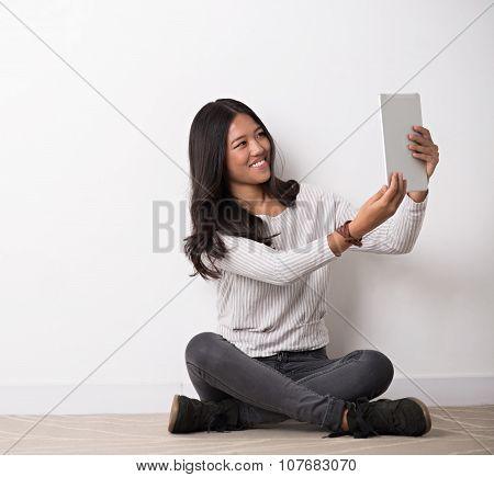 Taking selfie