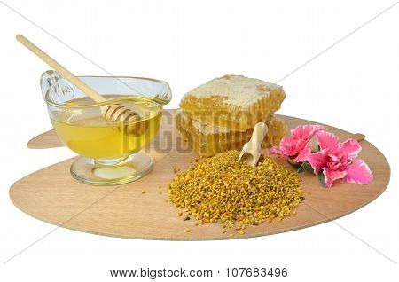 Pollen, Honey And Honeycomb On Pallet