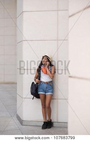 College girl on phone