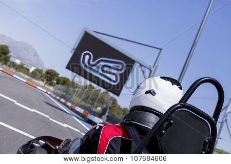 Go-kart Racer On The Starting Line