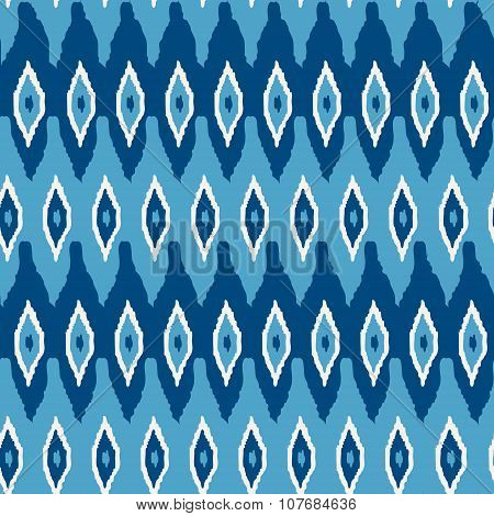 Ikat damask seamless pattern. Blue ikat background for textile wallpaper card or wrapping paper.