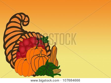 Cornucopia Of Apples And Vegetables Border