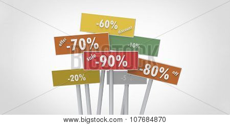 Offer Discount Off Sale 90 80 70 20 60 10 5 Percent Indicators