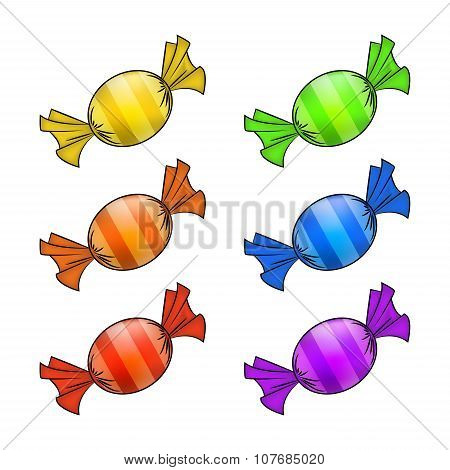 Christmas Wrapped Candy Set. Colorful Packaged Sweet, Goody In A Piece Of Paper. Vector Illustration