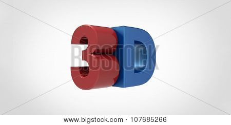 Red And Blue Metallic 3D Logo Isolated On White Background With Reflection Effect