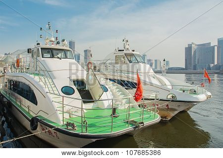 Two Ferryboat Are At Dock At Tianjin The Bun Garden.