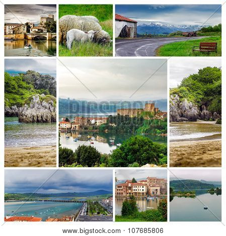 Collage Images Of Village In Cantabria, Travel Background