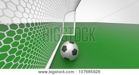 A Black And White Soccer Ball Football And A Goal Post On A Green Field Like Grass