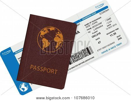 Passport and boarding pass isolated on white background