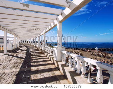 Seafront Promenade Along Las Americas Beach. Tenerife, Canary Islands. Spain
