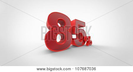 3D Rendering Of A Red 85 Percent Letters On A White Background