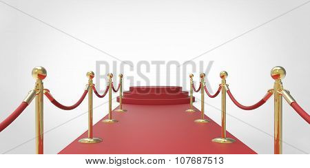 Red Podium On Red Carpet Vip Way Gold Fence On White Gray Background