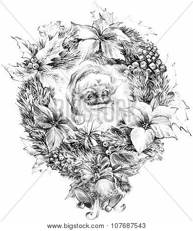 Santa Claus portrait sketch. Sketch of Santa Claus background Christmas bell, Christmas wreath, Chri