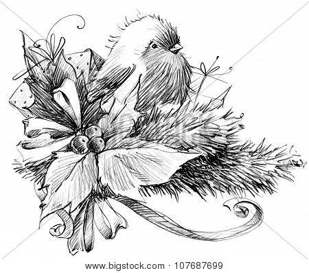 Winter bird, sketch for New Year background