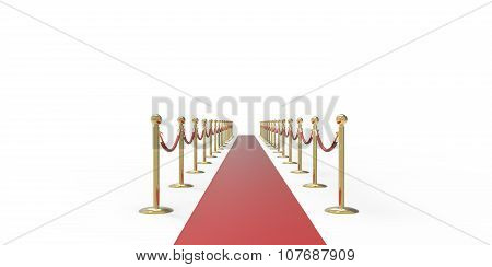 Red Event Carpet Gold Fence Isolated On A White Background;
